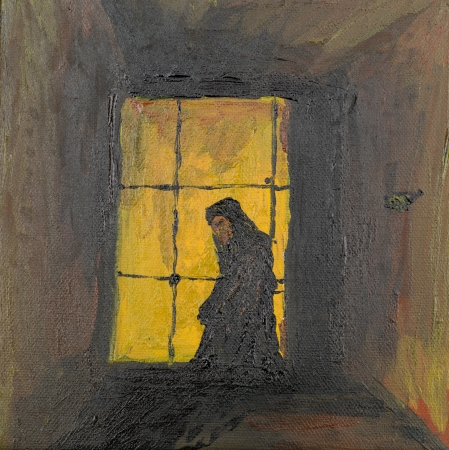 oil painting illustrating a praying monk inside a chamber photo