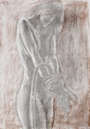 topless women: hand drawn pencil illustration of naked woman with her hands tied with rope Stock Photo