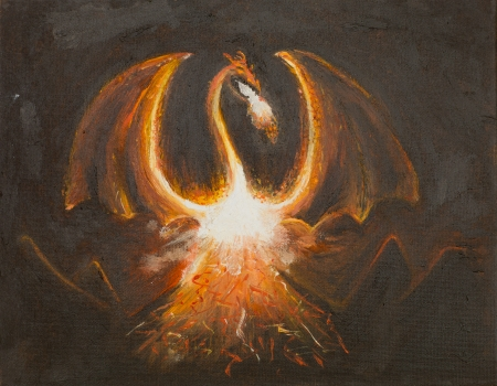 oil painting illustrating a dragon in flames photo