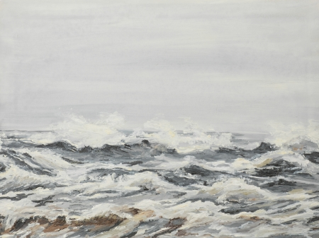 turbulent: oil painting illustrating agitated sea waves on a cloudy day
