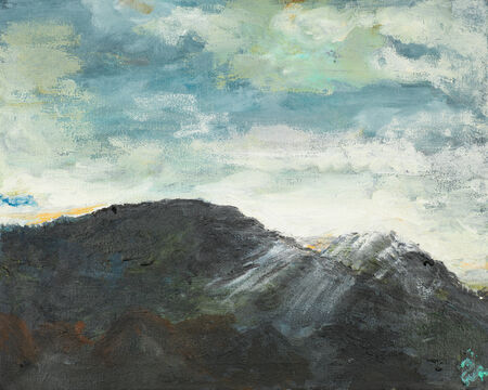 oil painting illustrating the peak of a mountain on a cloudy sky photo