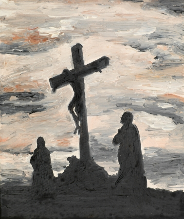 oil painting illustrating religious scene, Jesus crucified photo
