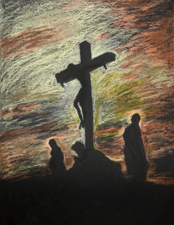 jesus praying: hand drawn pastel representation of religious scene