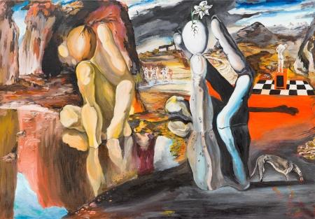 pintura al óleo que muestra una réplica de una pintura famosa hecha por Salvador Dalí Foto de archivo