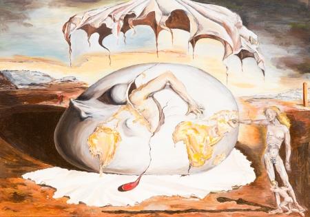 pintura al óleo illustrationg una reproducción de una famosa pintura realizada por Salvador Dalí