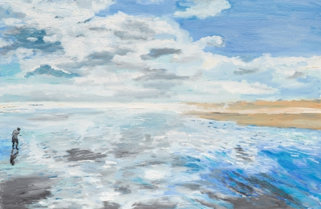夏の日、海辺に男を示す油絵
