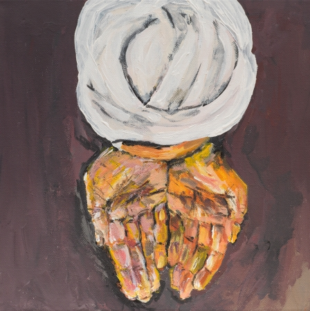 middleeast: oil painting illustrating an arabic man offering something with his hands, praying Stock Photo