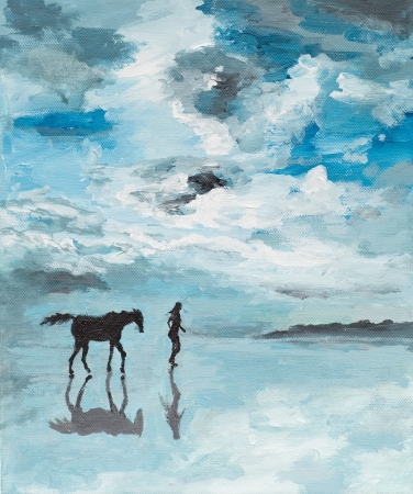 oil painting illustrating a man and a horse running on a sea shore, serene scene photo