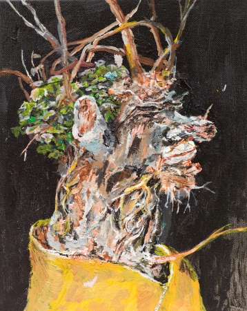 withered: oil painting illustrating a bouquet of withered flowers in a vase on black background