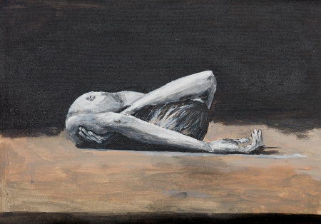 oil painting illustrating a naked woman laying on a floor photo