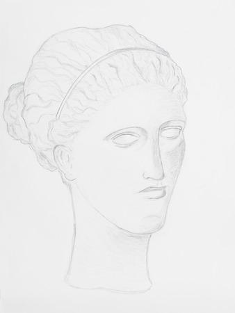 pencil drawing women portrait on white paper Stock Photo - 23653538