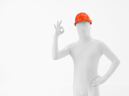 faceless man dressed in white with orange helmet on his head photo