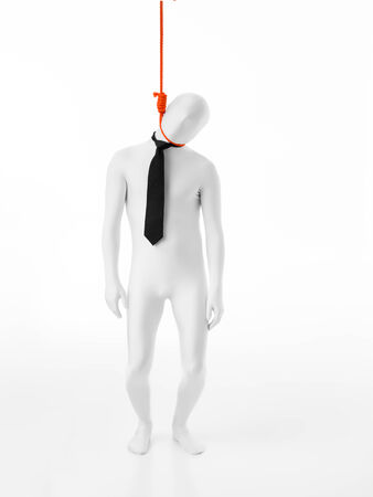 himself: businessman hanges himself with an rope orange Stock Photo