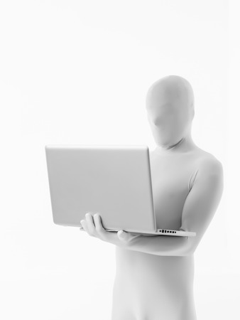faceless man dressed white sitting with a laptop in arm