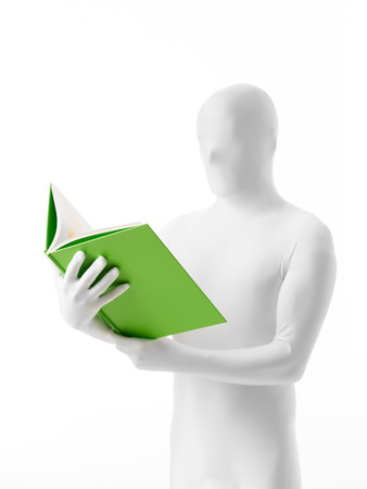 faceless man dressed white with a book in hand half-section photo