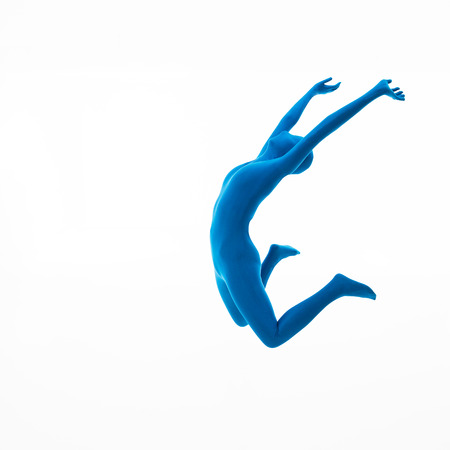 3d image: Woman dressed in blue suit jumps up on white
