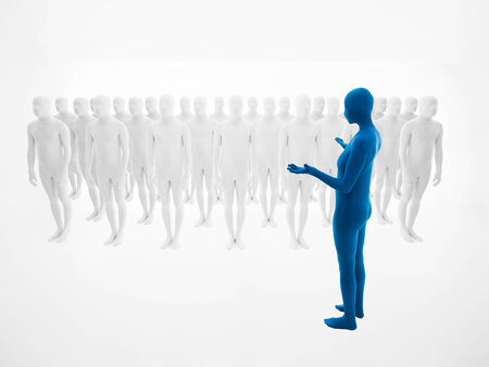 community recognition: woman dressed in blue full body suit trains an army of white men