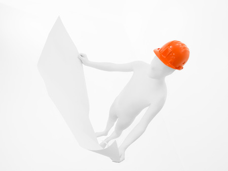 faceless man dressed in white with orange helmet on his head, full body, looking blueprints, top view