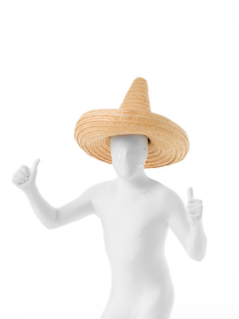 Mexican faceless, dressed in white suit with sombrero on head dancing photo