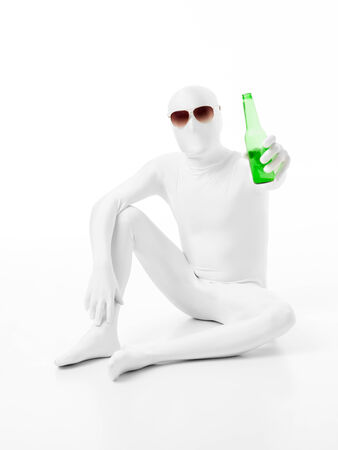 white man wearing sunglasses and holding bottle of beer photo