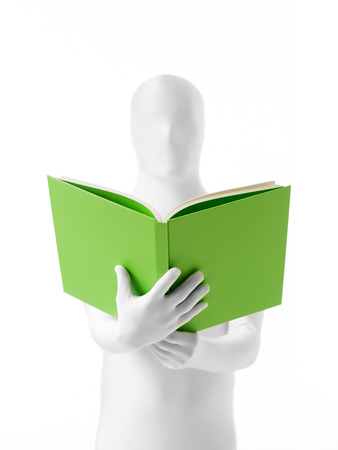 faceless man dressed  white costume with a book in hand front view photo