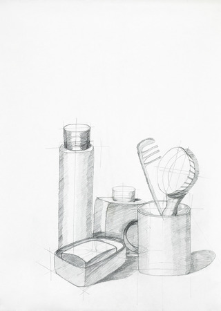 bathroom design: illustration of still life with objects, drawn by hand Stock Photo