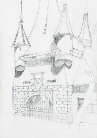 old pencil: medieval gate sketch, one of the entrance in the city of Brasov, Catherine Stock Photo