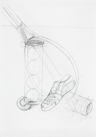 skecth: artistic study of composition tennis objects, drawn by hand Stock Photo