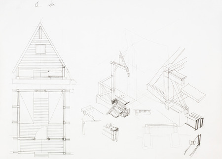 t square: architectural blueprint of house with attic, drawn by hand Stock Photo