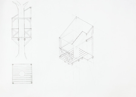 architectural blueprint of tree house, drawn by hand photo