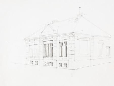 bevel: architectural perspective of old house, drawn by hand Stock Photo
