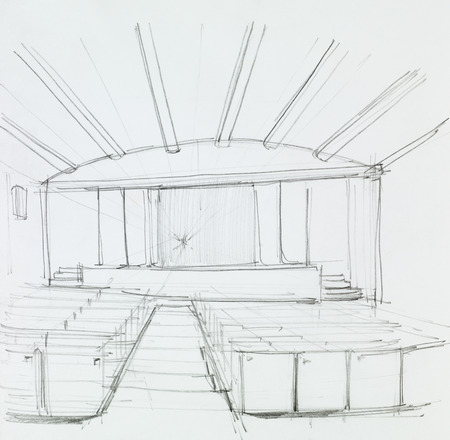 paper art projects: architectural perspective view of cinema interior, drawn by hand