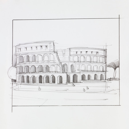 hand drawn illustration of colosseum of Rome, Italy Stok Fotoğraf