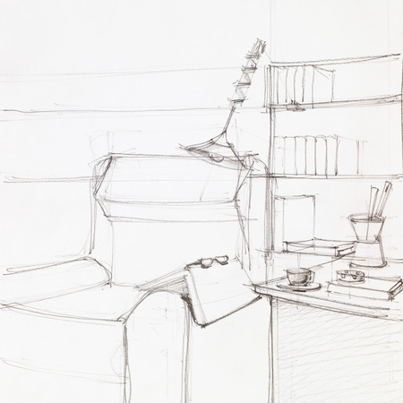 book shelves: simple graphic sketch of armchair and book shelves, drawn by hand