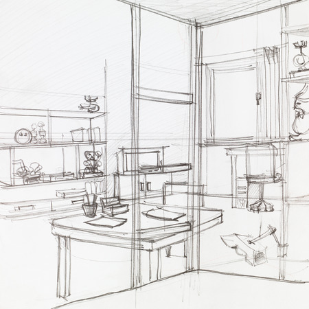home confort: graphic sketch of apartment living room, hand drawn Stock Photo