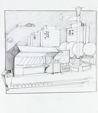 hand made: hand drawn illustration of bus stop and residential place