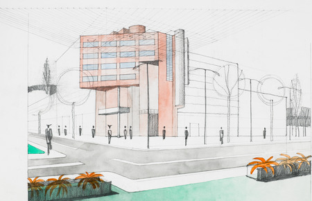 main entrance: hand drawing architectural perspective of modern building, street and sidewalk surroundings