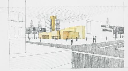 lineas rectas: dibujado a mano bosquejo arquitectónico de la moderna zona residencial