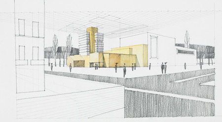 pencil drawn: hand drawn architectural sketch of modern residential place Stock Photo