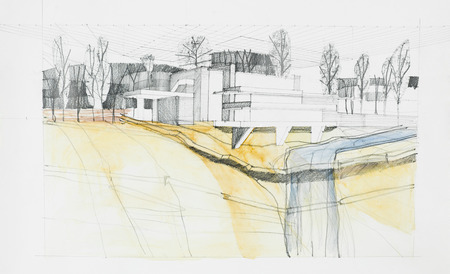 architectural sketch of modern construction with river, hand drawn