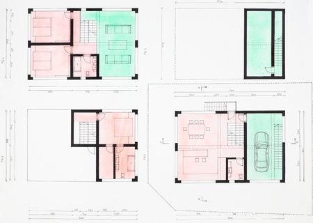 floorplan: colored hand drawn floorplan of modern house