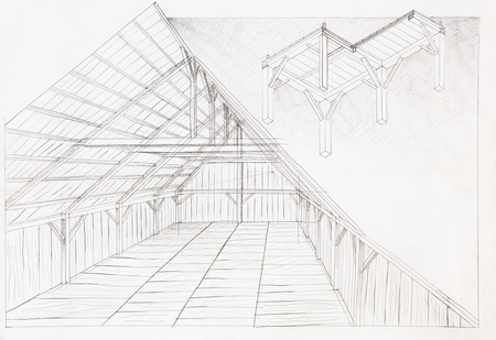 attic: hand drawn architectural illustration of wooden attic, perspective view