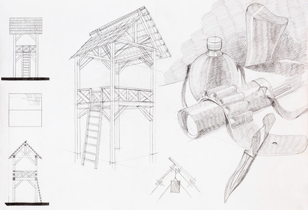 hand drawn architectural sketch of wooden tower and artistic study of objects photo