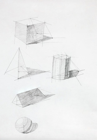 different geometric shapes with shadows, drawn by hand photo