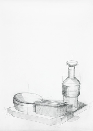 artistic study of objects shapes composition, drawn by hand photo