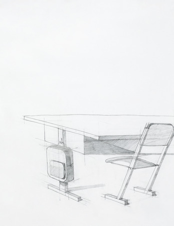 study table: hand drawn sketch of school desk and chair, artistic study