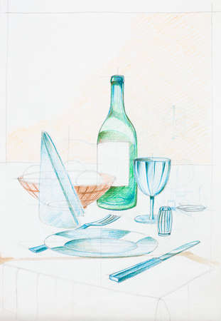 dinning: artistic study composition with objects, dinning area Stock Photo