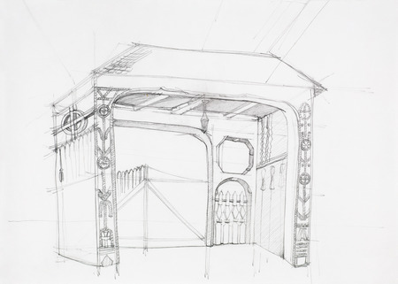 paper art projects: architectural drawing of rustic wooden gate, drawn by hand