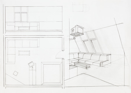 architectural plan of interior, living room photo