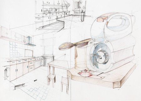hand drawn architectural perspective of an apartment kitchen
